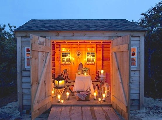 "Now this would be great for a ""girl's night""! she shed man cave tiny house"