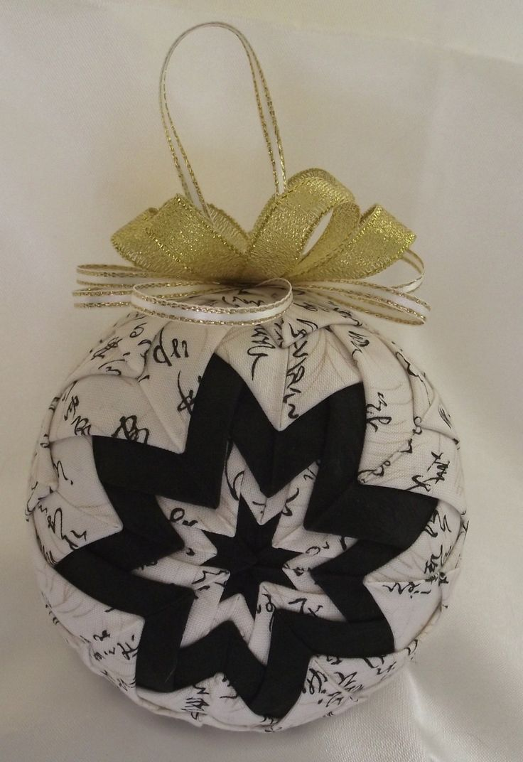 Asian christmas ornaments - Quilted Ornament Quilted Ball Ornament Quilted Christmas Ornament Asian Print Cream