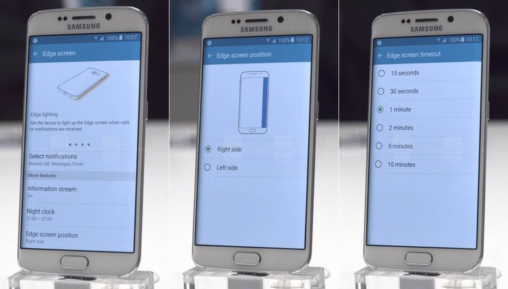 Galaxy S6 edge: Timeout and position