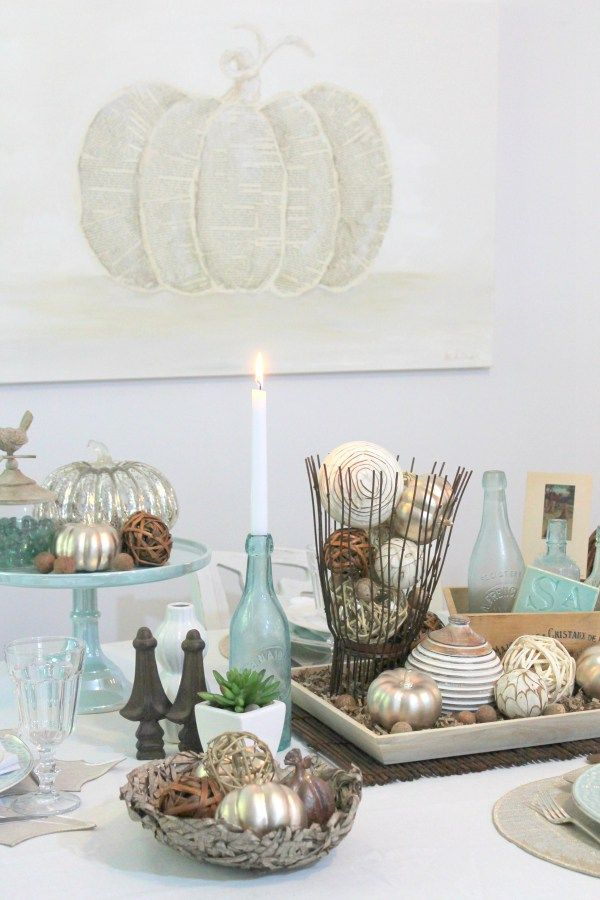 Coastal Fall Tablescape for the HomeGoods Blog