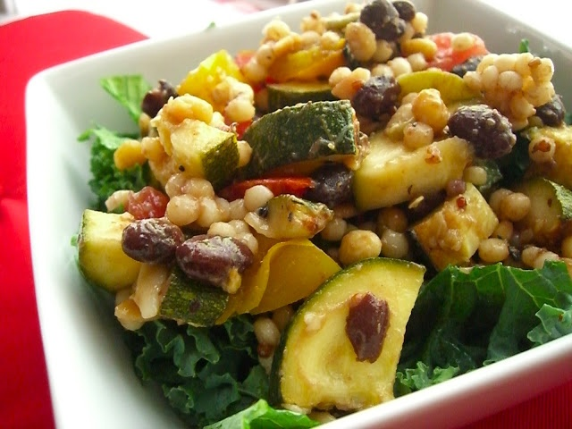 Grilled Zucchini Israeli Couscous Salad http://healthandhappiness-inga.blogspot.com/2012/07/grilled-zucchini-israeli-couscous-salad.html