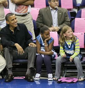 The Political Girl: President Obama's daughters enjoy basketball with Mystics star