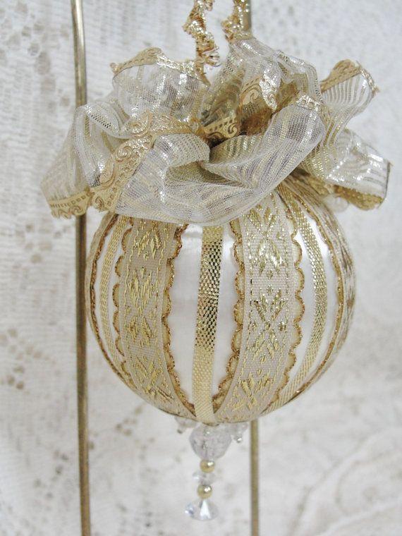 Handmade Christmas Tree Ornament White Satin by Bobbyes Hobbies, $14.00