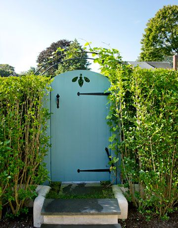 Bee Gate. Contributing Editor, Frances Schultz, redoes the exterior of her home and landscapes the front yard of her East Hampton home. House Beautiful