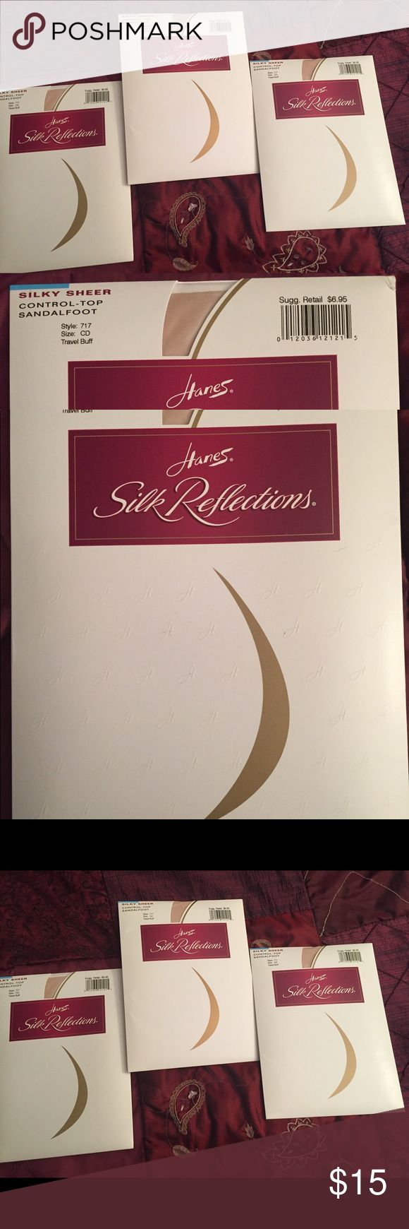 Hanes Silk Reflections Control Top Sandalfoot LOT 3 pairs of new, never opened Control Top Sandalfoot pantyhose. Silky Sheer Color: Travel Buff Size CD Chart is pictured Hanes Intimates & Sleepwear