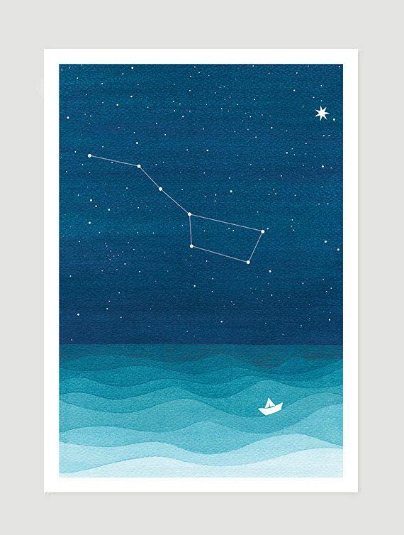 Print Big Dipper Pole Star / Ursa Major constellation by VApinx