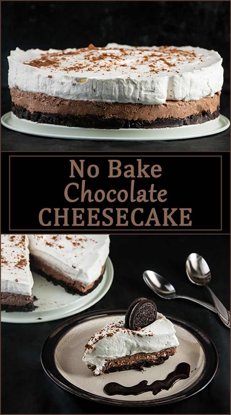 No Bake chocolate cheesecake with oreo crust from www.SeasonedSprinkles.com