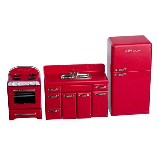 Red 1950s Four Piece Kitchen Appliance Set