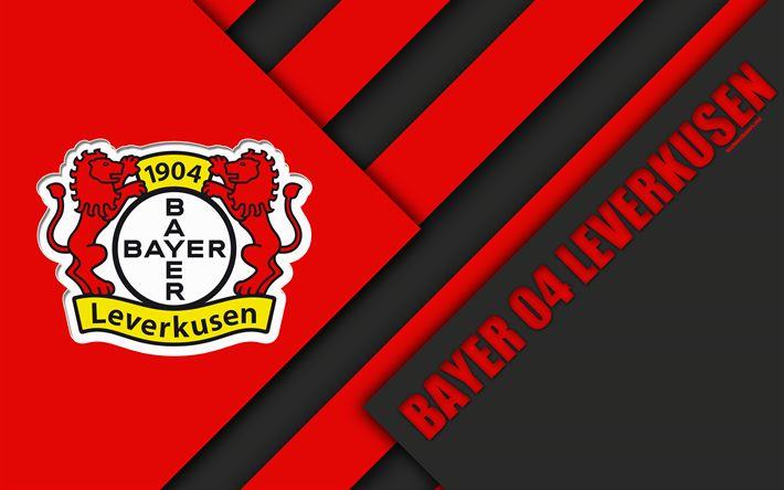 Download wallpapers Bayer 04 Leverkusen, FC, 4k, material design, black and red abstraction, emblem, german football club, logo, Bundesliga, Leverkusen, Germany