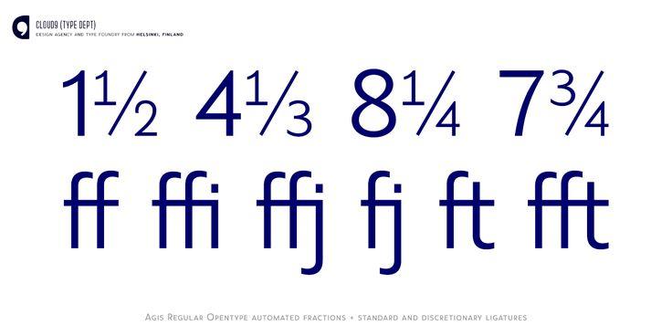 Agis Regular; Fractions and ligatures