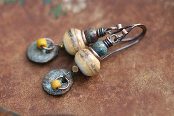Rustic The Discreet Ones Series earrings n229 - Glass . Earthy Rustic . Everyday . Cylinder . Green Lovers . Light Weigth Organic