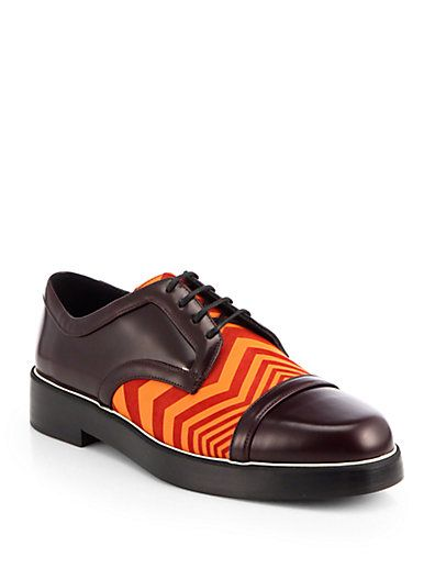 A bold zig-zag pattern interupts this leather lace-up oxford for a cool, unexpected finish. http://www.zocko.com/z/JGrax