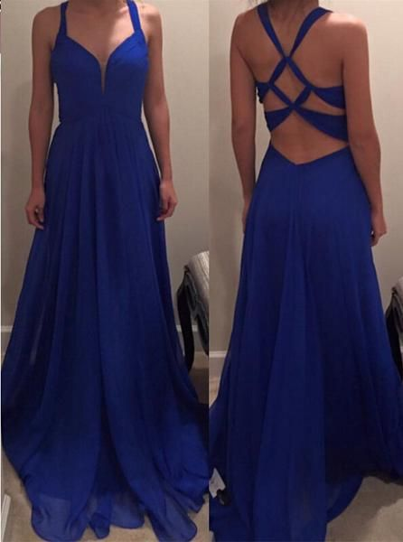 Sexy Royal Blue Color Prom Dress Evening Party Gown Cross Back pst0631