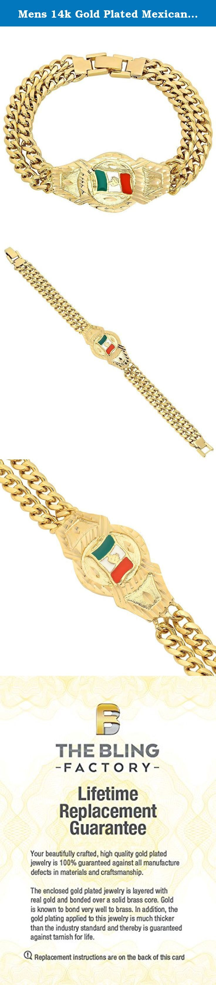 """Mens 14k Gold Plated Mexican Flag Double Cuban Link Curb Bracelet. Show off your Mexican pride with this men's 14k gold plated Mexican flag double Cuban curb link bracelet. Each bracelet features a central """"ID"""" style plate with green, white and red flag complete with stylized symbol and diamond-cut style accents, two rows of 14k gold plated Cuban curb link chains all tied together with a lustrously polished locking box clasp. Made in the USA, Full Replacement Warranty for Life."""