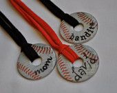 LOOOVE THESE! Make these from washers!  This would be cure for the moms to wear with their player's name and number.