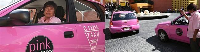 Taxi Rosa da Cidade de puebla, mexico. apenas mulheres dirigem