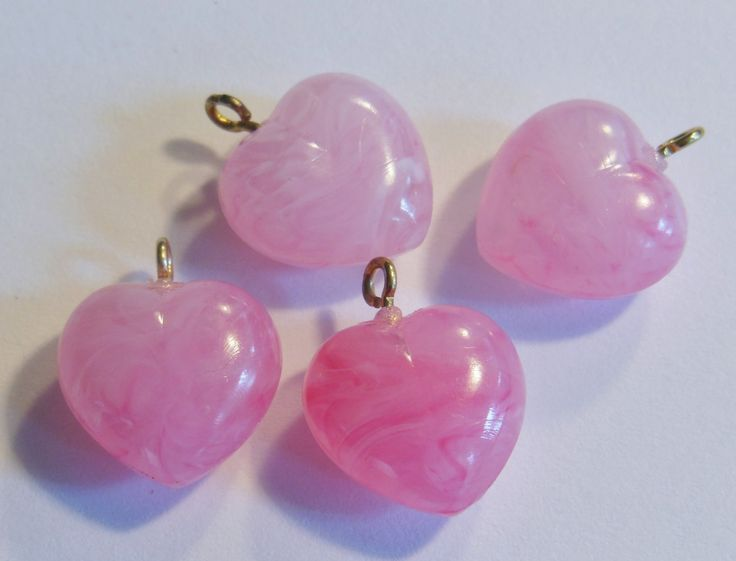 Vintage heart beads (4) Puffy pink charms drop marbelized lucite plastic loop at top 18mm (4) by a2zDesigns on Etsy