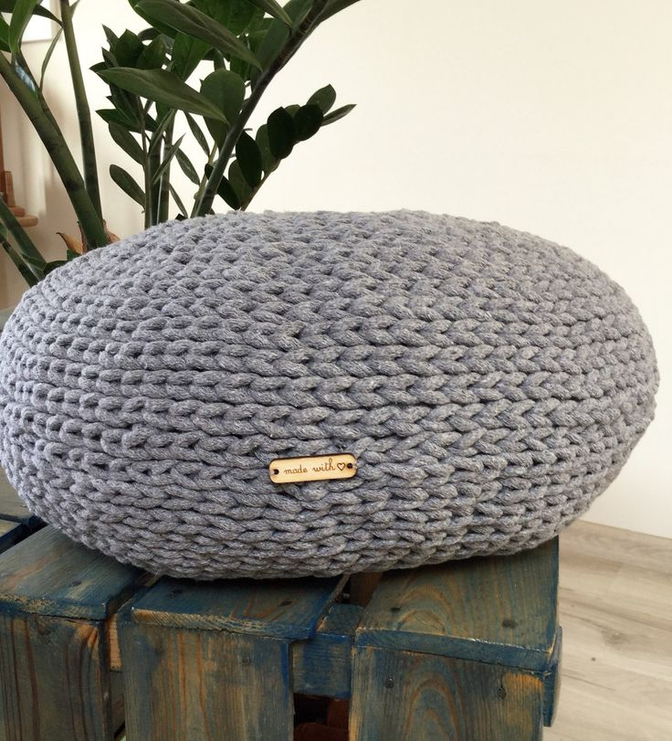 Hand crocheted pouf, grey floor pillow, rope crochet ottoman, foot rest, crochet floor cushion, child's seat, stuffed pouf, hassock, chair by justknitted1 on Etsy
