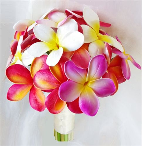 Fuchsia Natural Touch Orchids and Plumerias Bouquet. I love this because I have a plumeria tattoo!