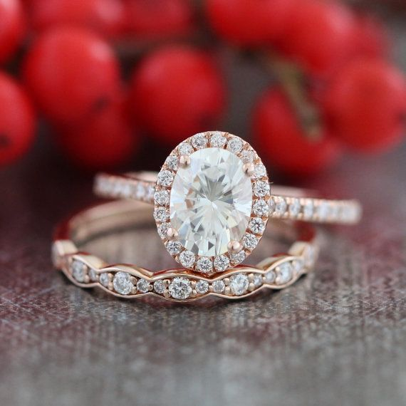 Halo Diamond Moissanite Engagement Ring 14k Rose Gold and Scalloped Diamond Wedding Band Bridal Set 8x6mm Oval Cut Forever Brilliant Ring
