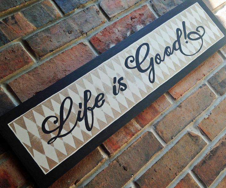 Handpainted Signs, Hand Painted Wooden Sign, Life is Good, Argyle Diamond Pattern, Gold Antique White, Espresso Bean, Wood Housewarming Gift by DreaminBohemian on Etsy