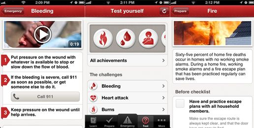 Red Cross app screen shot - nice to have in case of an emergency during a run!!!