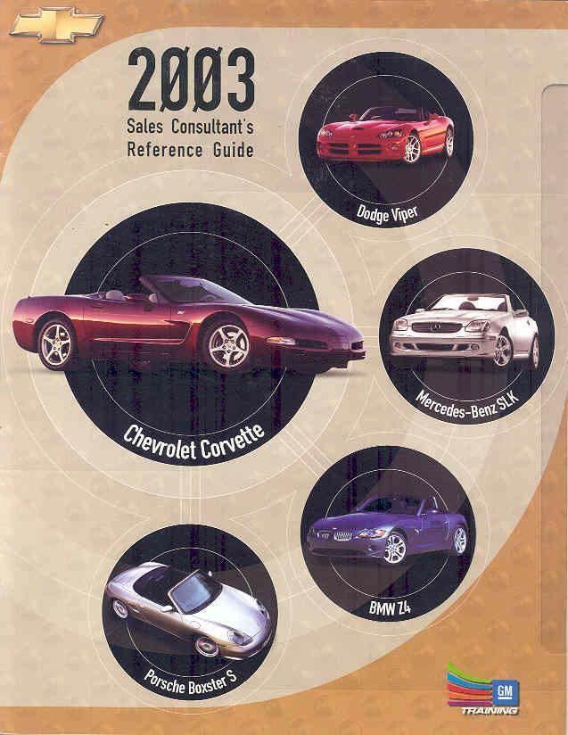 2003 Corvette Vs Viper SLK BMW Z4 Boxster Brochure wo1419-W3MUWF