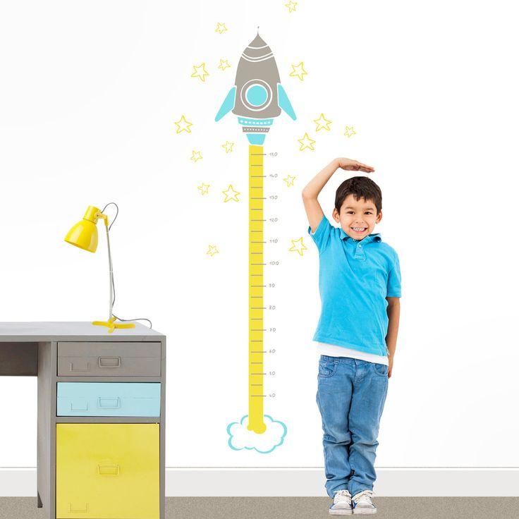 Vinilo infantil medidor cohete espacial. Decora la pared de la habitación infantil con este divertido vinilo decorativo