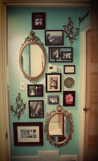 Collage Wall with Vintage Gold Mirrors