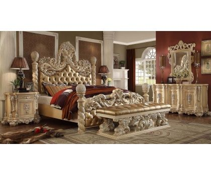 HDS  HD7266 Distressed Pearl Finish 4 Post Victorian Bedroom Set With  Tufted Beige Leather Finish