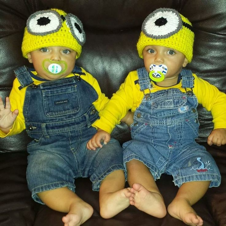 Minion costumes for tiny twins!