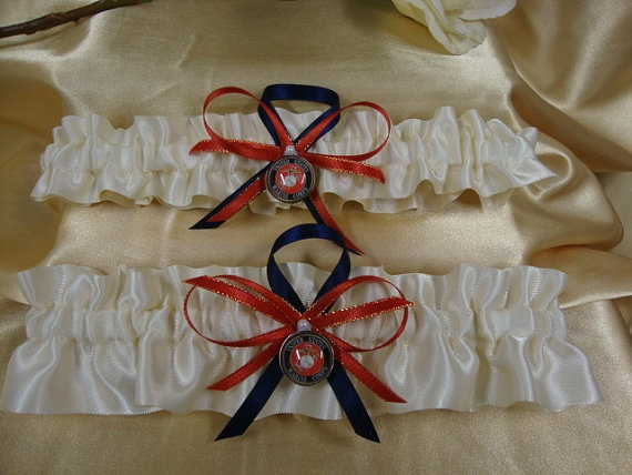 Ivory Satin Wedding Garter Set With Us Marine Corps By Starbridal 34 95