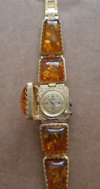 Vintage Gold Baltic Cognac Amber Watch/ Wind Up/ Women