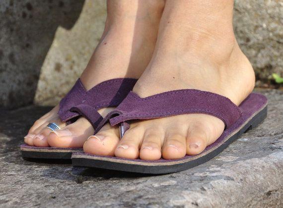 OJOTAS de cuero de gamuza púrpura oscuro Hippie por PanoParaTanto