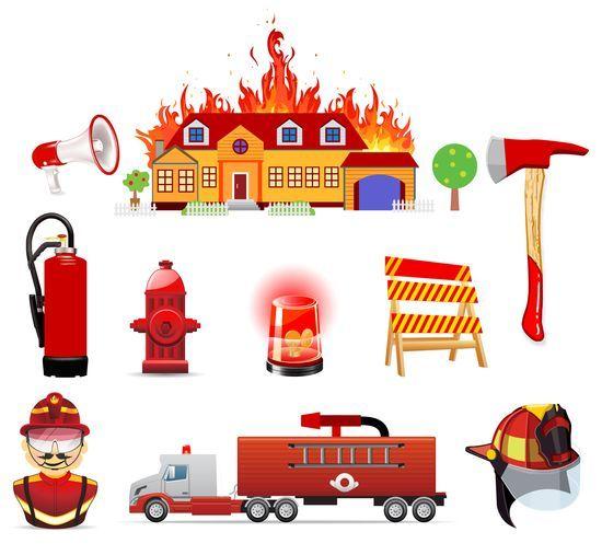 Клипарт на прозрачном фоне Пожар, пожарная безопасность 2