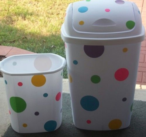 Decorate plastic bins with colorful dots for a bold effect.