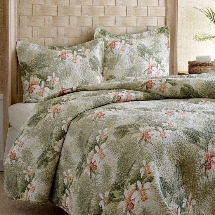 Tommy Bahama Tropical Orchid 3 Piece Quilt Set King Size Floral Print Islands  #TommyBahama #Tropical