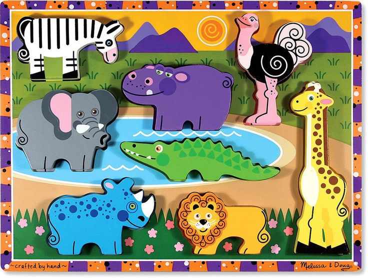 Safari Chunky Puzzle 000772137225: African animal favorites are featured on this extra thick wooden puzzle. Eight easy grasp chunky wild animal pieces have a full color matching pictures underneath. The animal pieces stand upright for pretend play. Encourages hand eye fine motor and creative expression skills.
