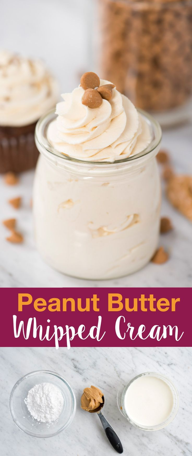 Easy to make peanut butter whipped cream frosting! This peanut butter whipped cr…