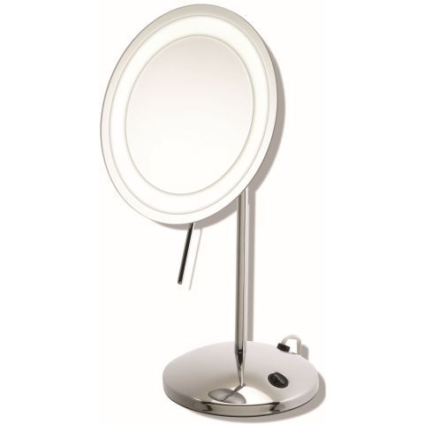 Chrome LED pedestal mirror, Mirror diameter 21cm. Overall height 39.5cm . Base 16.5cm. Stunning Quality, chrome mirror with LED lighting for a brighter sharper image. This mirror is 3x magnification This pedestal mirror stands on a chrome base. It has a tilting mirror with a chrome lever to enable adjustment without marking the glass. Mains operated so can be moved to any area for makeup application or grooming requirements. FM030. £99.95.