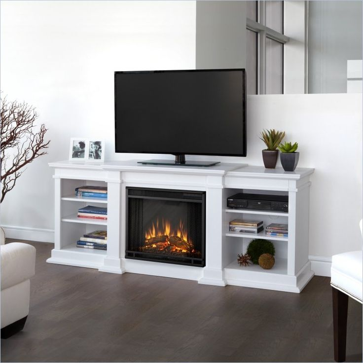 images of white tv stands fireplace | electric fireplace tv stand in white finish by real flame