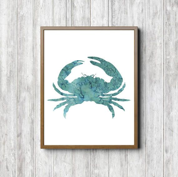 Watercolor Crab Printable Nautical Wall Art Sea Animal Print