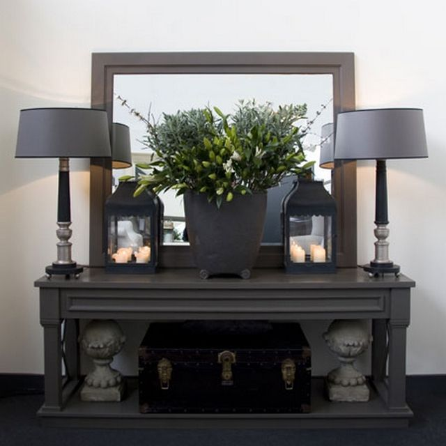 fabulous grey table lamps and lanterns - gorgeous console table too!