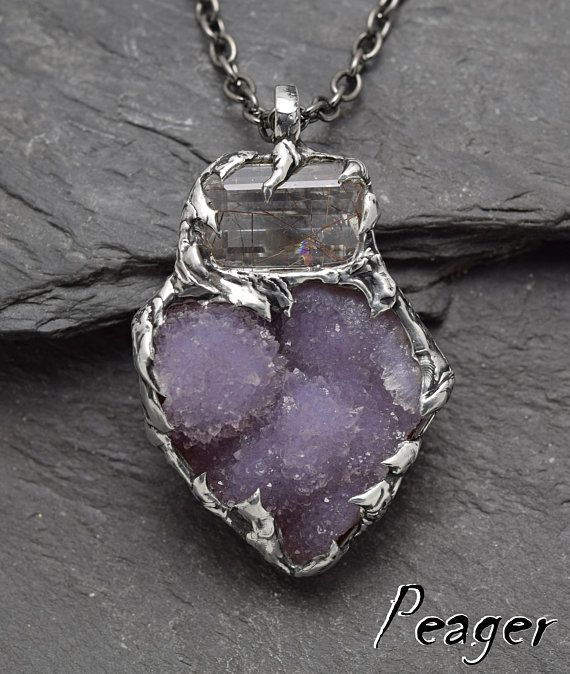 Amethyst PendantRaw pendantDruzyRutilated quartz