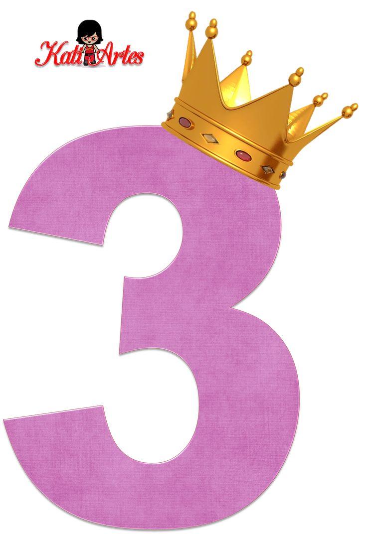 Alfabetos de números violeta claro con coronas. Número tres, 3.