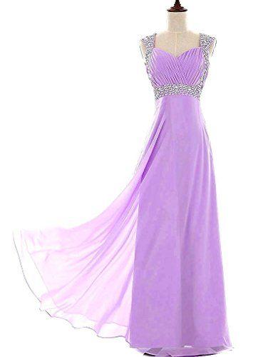 RohmBridal Women's Beaded Straps Column Chiffon Long Prom Dress Lilac 22
