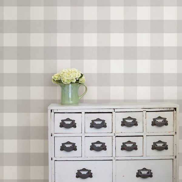 Beth Farmhouse Plaid 18 L X 20 5 W Peel And Stick Wallpaper Roll Peel And Stick Wallpaper Nuwallpaper Wallpaper Roll