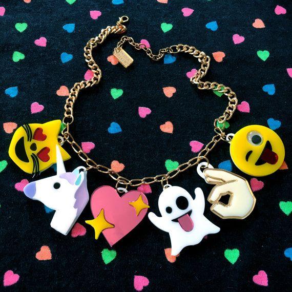 Emoji Love Acrylic Charm Necklace by imyourpresent on Etsy