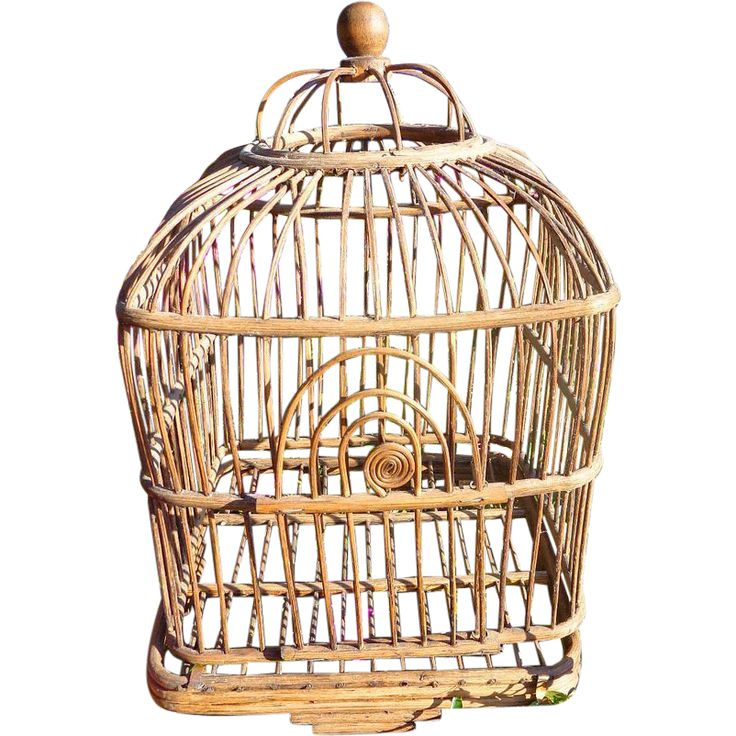 Rare Victorian period wicker wooden bird cage would make a lovely vintage garden piece. www.rubylane.com #vintagebeginshere