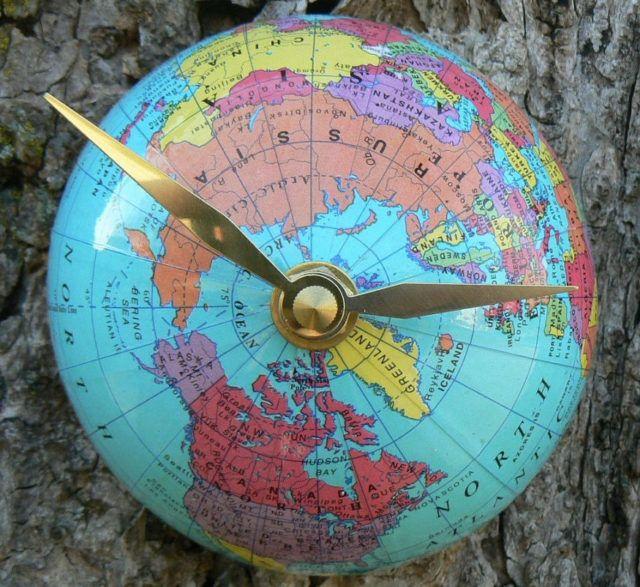 Half Globe Clock Northern Hemisphere  - 30 Cool & Unusual DIY Clocks for a Great Time - Big DIY Ideas